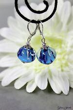 Glass Jewels Silber Ohrringe Ohrhänger Perlen Lampwork Blau Glitzer #L038