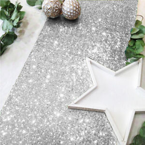 """Gold/Silver Glitter Sequin Table Runners Cover 12""""x108"""" Sparkly Christmas Party"""