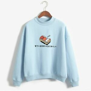 O Neck Fleece Sweatshirts Women's Japanese Print Pullover Basic Casual Outerwear