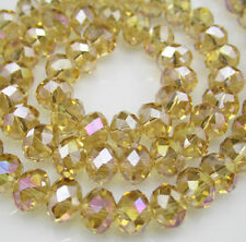 NEW Jewelry Faceted 70pcs Rondelle glass crystal  6x8mm Beads Yellow AB