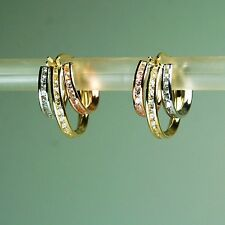 14K solid yellow/white/Rose multi-tone gold 0.35 TCW White Topaz earrings
