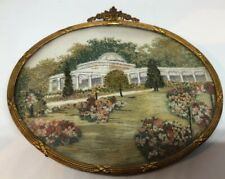 Vintage Hand Embroidered Miniature Framed Picture Botanical Garden