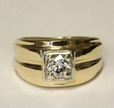 14k yellow gold .66ct SI2 H European round diamond solitaire ring 8.5g gents