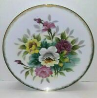 Vintage Hand Painted Pink & Yellow Floral Gold Trimmed Wall Hanging Plate Japan