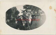 Rppc Photo Teen Boy w/ Rifle in Cowboy Cavalry Uniform on Horse Pony 1910 Kansas