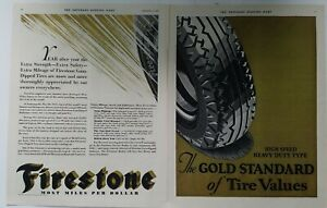 1931 Firestone high speed heavy duty type gold standard automobile tires ad