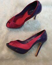 Karen Millen Pink Purple platform peeptoe heels Size 4 uk 37 eu