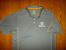 MAJESTIC NFL MIAMI DOLPHINS SHORT SLEEVE GRAY POLO SHIRT MENS LARGE EXCELLENT