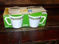 17887 PYREX NEW in BOX  Pyrex  Set of 4 Coffee Cups Green SPRING BLOSSOM NIB NOS