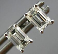 ESTATE 1.02CT EMERALD CUT DIAMOND 14K WHITE GOLD OVER 3D CLASSIC STUD EARRINGS