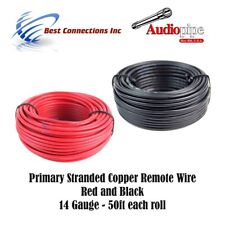 14 GAUGE WIRE RED & BLACK POWER GROUND 50 FT EACH PRIMARY STRANDED COPPER CLAD