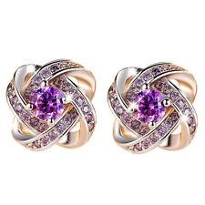 Pretty New Silver Plated Purple Amethyst CZ Love Knot Stud Earrings