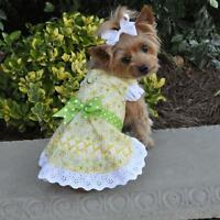 Doggie Design Emily Yellow Floral and Lace Dog Dress with matching Leash
