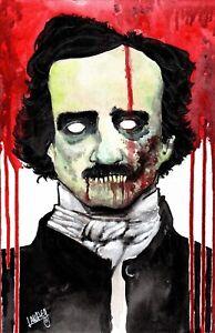 Zombie Edgar Allan Poe  Poster, Signed 11x17 Horro Art, Shawn Langley