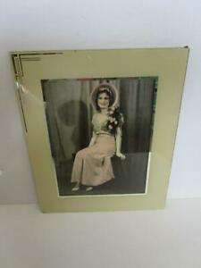 Vintage Art Deco Reverse Painted Glass Frame Hand Tinted  Woman in Hat Photograp