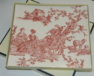 NEW in SEALED Box  GIEN FRANCE Red Toile 4 SEASONS SQUARE PLATE SERVING Platter