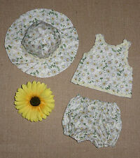 "Handmade Doll Clothes for 16"" - 18"" Baby Dolls - ""Daisy Mae"" Sun Suit & Hat Set"