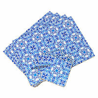 Set of 4 Placemats & Coasters Table Place Setting Mats Moroccan Tiles White Blue