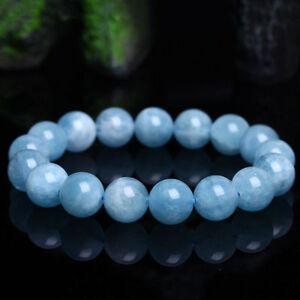 10mm Natural Blue Aquamarine Round Gemstone Beads Elastic Bracelet 7.5'' AAA