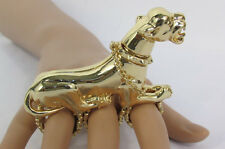 Gold Panther 3 Fingers Elastic Band Dog New Women Fashion Jewelry Ring Big Metal