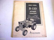 Allis Chalmers B-110 Wheel Tractor Owners Manual Lawn & Garden