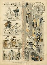 FIRE ESCAPE, NEW ROPE FIRE-ESCAPE LAW FOR HOTELS, PUCK CHROMOLITHOGRAPH, RESCUE