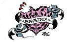 ZOMBIE BRAINS HEART TATTOO SWALLOWS SURFBOARD STICKER/CAR DECAL Mitch OConnell