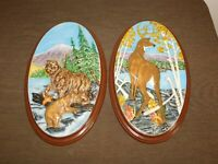 "VINTAGE 2 16"" X 9 1/2"" HOLLAND MOLD BEAR  DEAR CERAMIC PLASTER OVAL WALL PLAQUES"