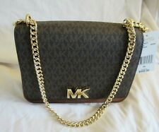 MICHAEL KORS MOTT LARGE CHAINED SHOULDER FLAP LEATHER HANDBAG MK BROWN NWT