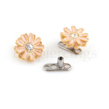 14G G23 Titanium Base Gold Flower Steel Dermal Anchor Top Piercing Jewelry