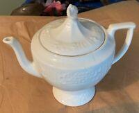 Cononsburg Pottery Co. Milk Glass Teapot Tea Pot w Lid Pattern USA