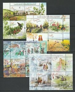 "Moldova 2017-2018-2019-2020 ""Traditional Folk Months"" All Editions 4 MNH Blocks"