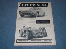 1960 Lotus Elite Grand Touring & Seven Sports Car Vintage Ad