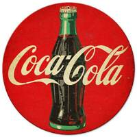 "COCA COLA SODA POP BOTTLE 14"" ROUND HEAVY DUTY USA MADE METAL ADVERTISING SIGN"