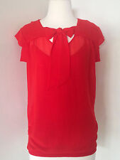 FORNARINA WOMEN'S RED TOP BLOUSE Sleeveless Sheer Tie Front Size S (8-10 Aus)