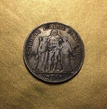 5 FRANCS 1878 HERCULES Atelier : K BORDEAUX / FRANCE MONNAIE EN ARGENT.