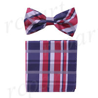 New Men's micro fiber Pre-tied Bow tie & hankie blue red plaids checkers formal