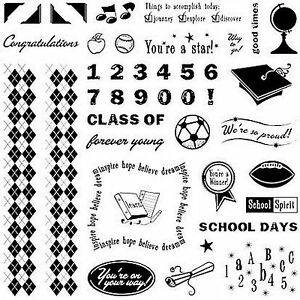 SCHOOL DAYS - Fiskars Clear Stamp Set - Scrapbooking Stamping NEW