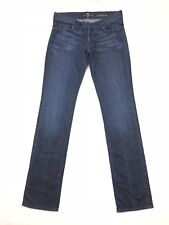 Woman's 7 For All Mankind Straight Leg Dark Wash Distressed Jeans Size 29 C-048