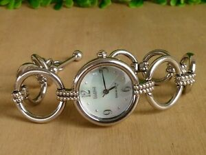 Ecclissi Sterling Open Circle Bracelet Watch MOP Dial & Toggle Clasp New Battery