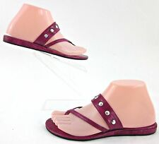 White House Black Market Toe Loop Criss Cross Sandals Fuchsia Studded Patent 6