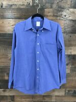 Brooks Brothers Men's Blue Extra Slim Fit Long Sleeve Button Up Shirt Size 16-34