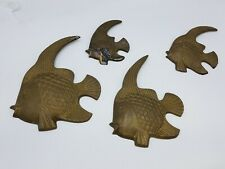 Set Vintage Solid Brass Tropical Angel Fish Retro Wall Decor Nautical Ocean Lot