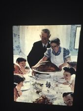 """Norman Rockwell """"Freedom From Want"""" American Art 35mm Glass Slide"""