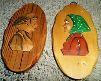 Pair of Vintage Audet Hand Carved Wood Plaques