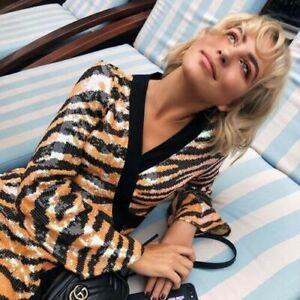 AUTH BNWT Rixo London Gigi Tiger-print Sequined Wrap Dress Size L XL