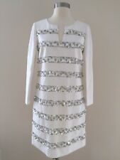 J.CREW $1,400 BEADED SEQUIN DRESS 0 WHITE PARTY SHORT WEDDING SPECIAL OCCASION