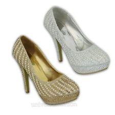 Ladies Shoes Womens Stiletto Bridesmaid High Heel Platform Diamante Pearls Party