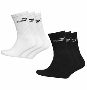 PUMA 3 Pack Mens Kids Womens Logo Crew Socks Sizes 2 to 14 Black White  7308