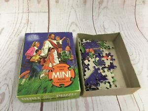 Vintage COMPLETE Bible Mini Jigsaw Puzzle by Standard - Jesus Leads The Children